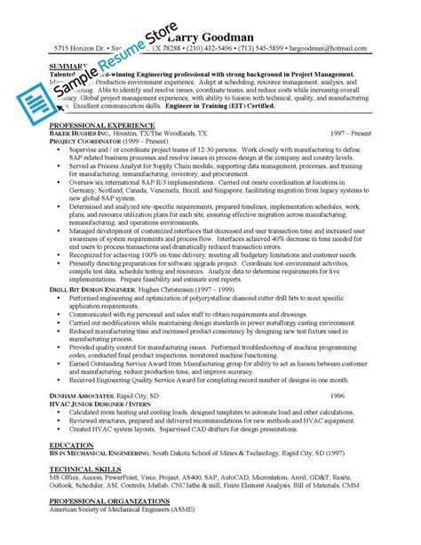 mechanical engineer project manager sle resume sle resume store shop sle resumes by