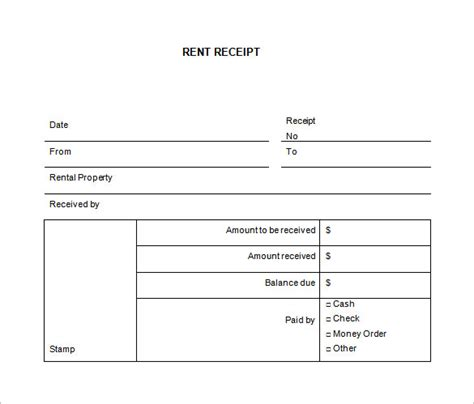 rental receipt template 36 free word excel pdf