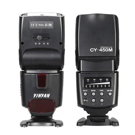 yinyan flash kamera zoom speedlite 5600k untuk dslr canon nikon cy 450m black