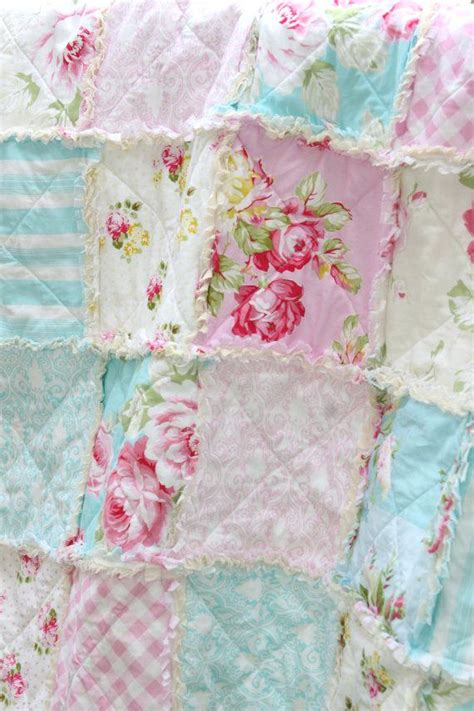 Shabby Chic White Patchwork Quilt Crib Rag Quilt Baby Girl Simply Shabby Chic Crib Bedding