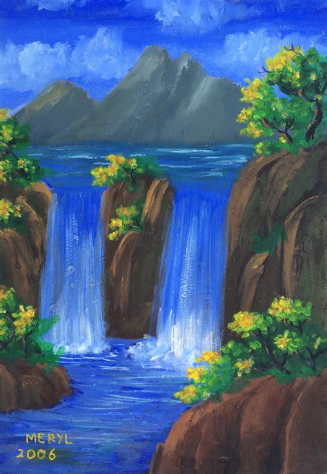 Lukisan Paintings Nature jual lukisan alam serene waterfall lierrec