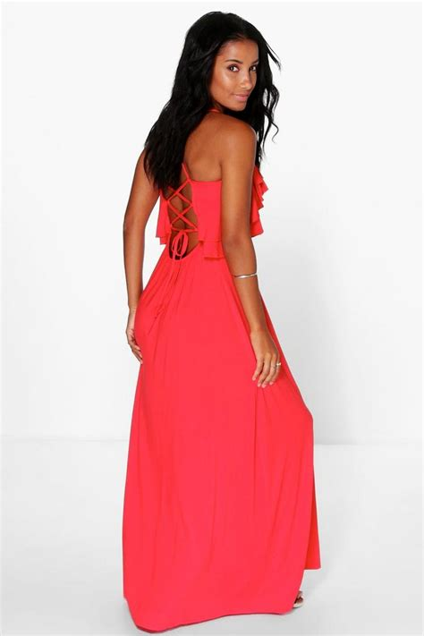 Maxi Sally sally ruffle lace up back maxi dress boohoo