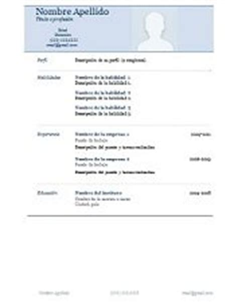 Plantillas De Curriculum Vitae Para Completar Modelo Para Llenar De Curriculum Vitae Modelo De Curriculum Vitae