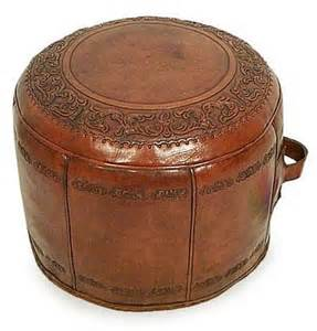 Leather Pouf Ottoman Colonial Leather Pouf Ottoman Cover Elegance Novica