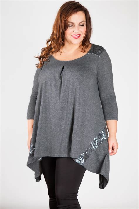 Tunic Top plus size tops wholesale manufacturer sequin panel tunic top
