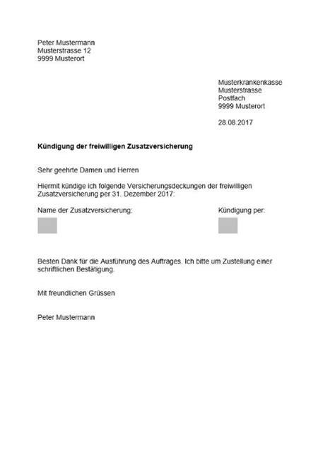 Vorlage Kündigung Versicherung Schweiz Zusatzversicherung K 252 Ndigen Vorlage Muster Und Vorlagen Kostenlos