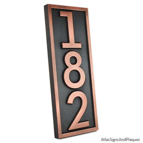 neutraface vertical house numbers with border atlas - Vertical House Number Signs
