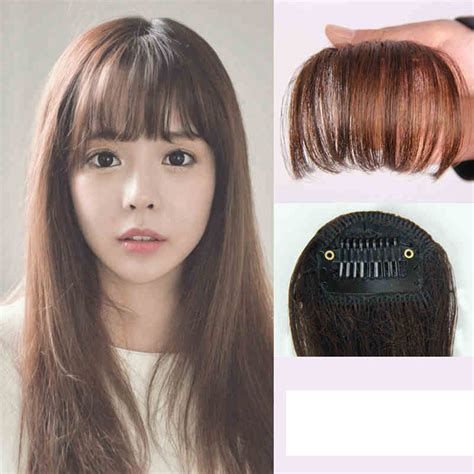 clip on human hair bangs for thinning hair korean style clip on clip in front hair bang fringe hair