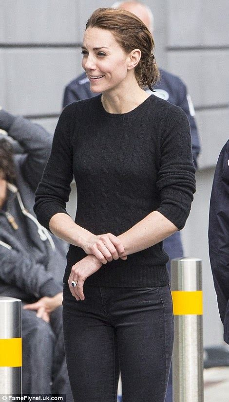 kate middleton kate middleton in a black cable knit jumper from j crew