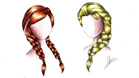 how to do doodle braids drawing braids of elsa from frozen