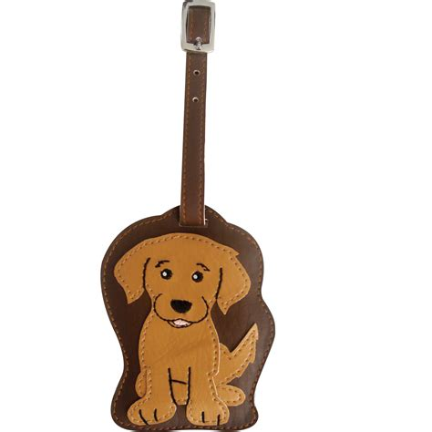 puppy suitcase golden retriever luggage tag briefcase backpack travel id ebay