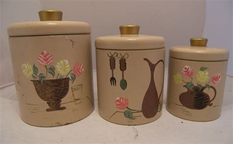 Vintage Metal Kitchen Canister Sets Vintage Metal Kitchen Canister Set Hp Ransburg 1960s