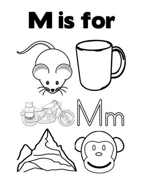 coloring pages that start with the letter m cards for kids coloring sheets and learn the letter m