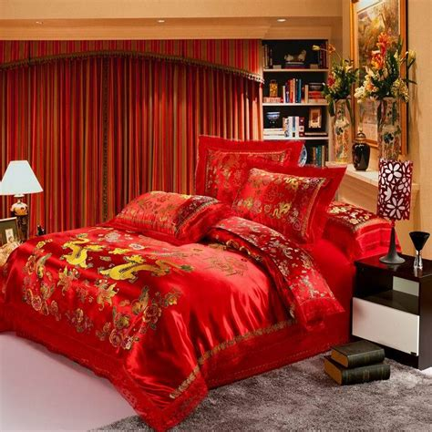 satin comforter sets red satin comforter set dragon chinese wedding bedding set