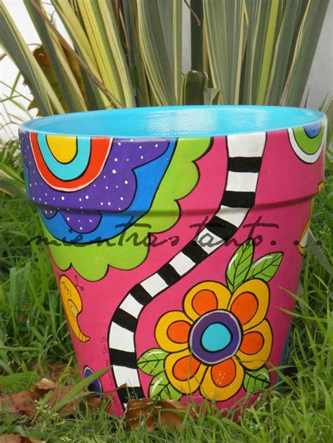 pot designs ideas maceta pintada de 35 cm de di 225 metro macetas pinterest
