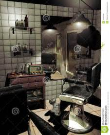 Interior of an old barber shop with ancient furniture old fashioned