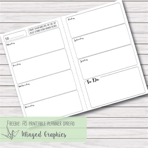 printable weekly planner inserts winged graphics freebie friday 3 printable a5 planner