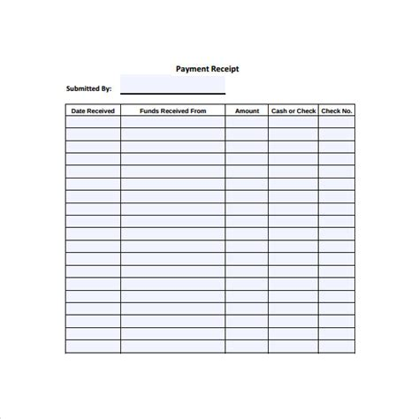 payment receipt log template 31 payment receipt sles pdf word excel pages