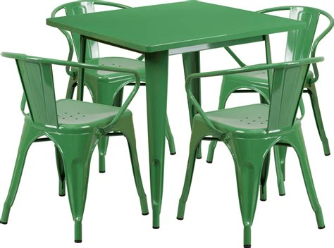 green metal outdoor table 31 5 square green metal indoor outdoor table set with 4