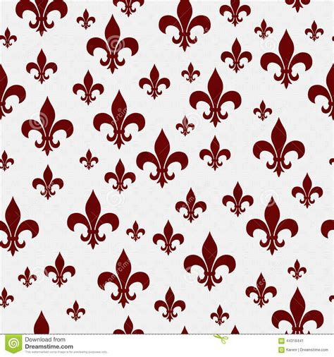 pattern repeat in french red and white fleur de lis pattern repeat background stock