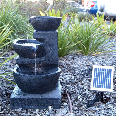 solar fountains with lights solar panel powered 3 tiers casarding water led