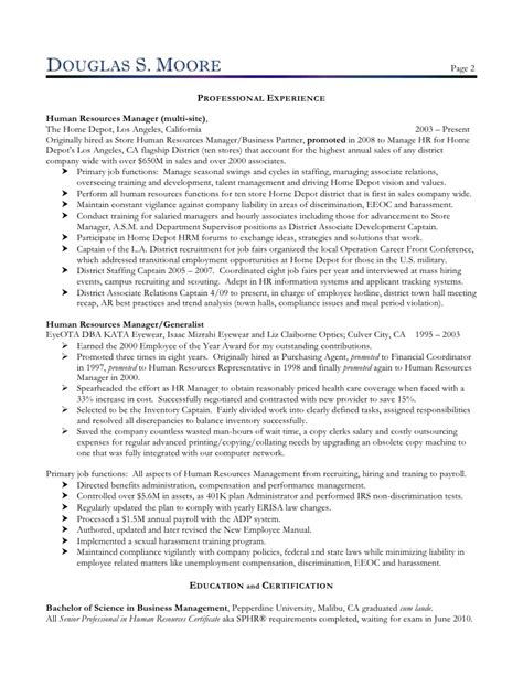 douglas hr director resume 2010