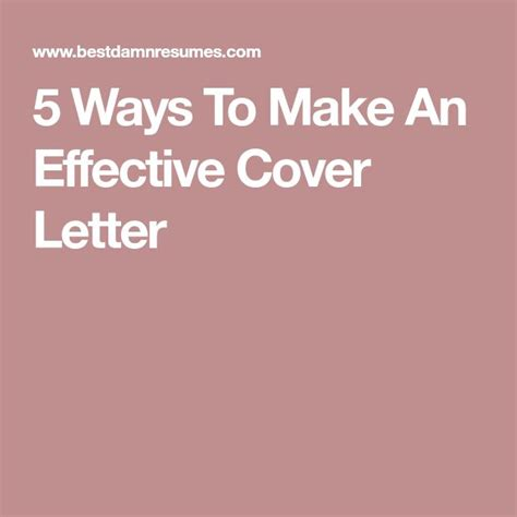 How To Make An Effective Cover Letter For A Resume