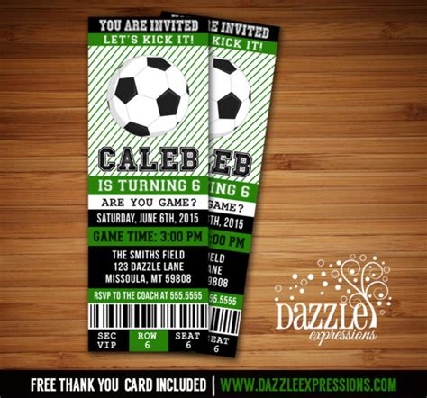 Printable Soccer Birthday Ticket Invitation Futbol Ticket Boys Birthday Party Idea Sports Soccer Ticket Invitation Template Free