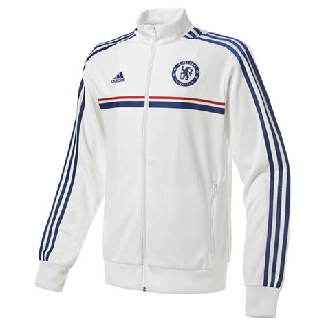Jaket Adidas Jad01 White Blue pusat jersey jacket chelsea anthem away white 2013 2014