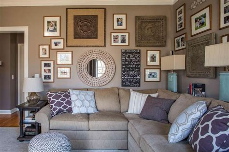hgtv features  brown family room   gallery walls