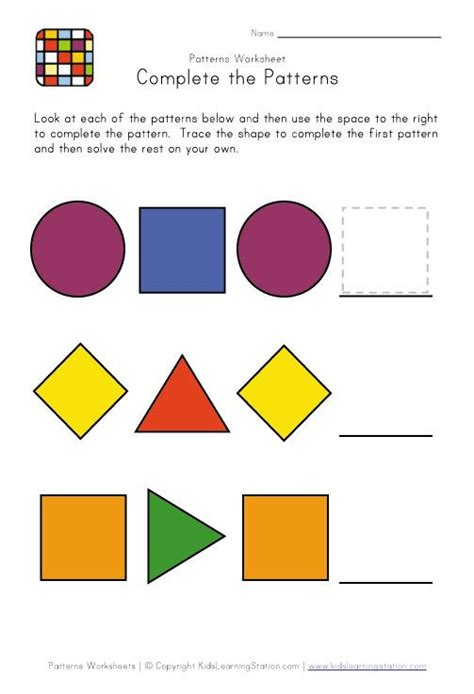 shape pattern activities preschool patterns abc summer pinterest shapes