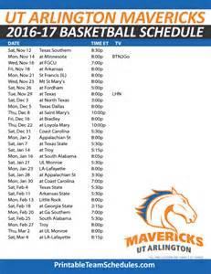 Ut Basketball Schedule Printable Texas Arlington Basketball Schedule 2016 17