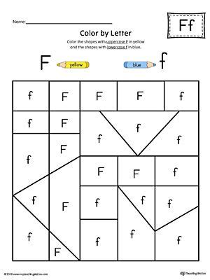 color with f uppercase letter f color by letter worksheet alphabet