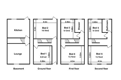 rental property floor plans northton student housing six bedroom houses