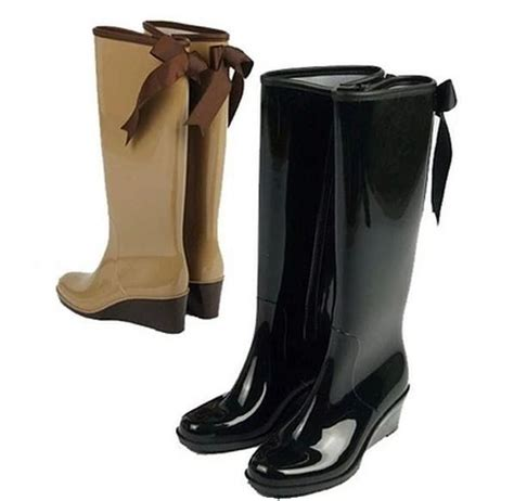 high heel rainboots 2015 fashion wedge heel high s boots