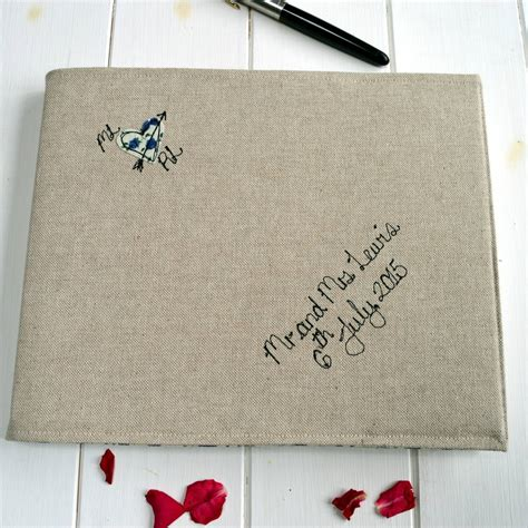 Personalised Wedding Guest Book Handmade - personalised linen wedding guest book by handmade at