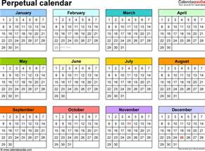Whole Year Calendar Template by Perpetual Calendars 7 Free Printable Excel Templates
