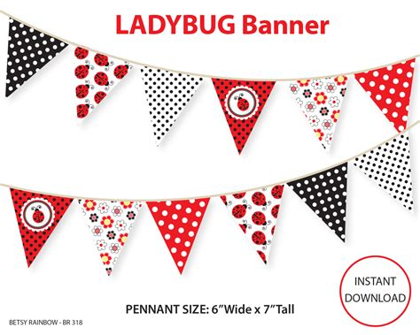printable ladybug banner ladybug banner printable banner diy party bunting pennants