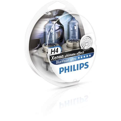 Lu Philips Blue Vision H4 2 oules philips premium white vision h4 feu vert