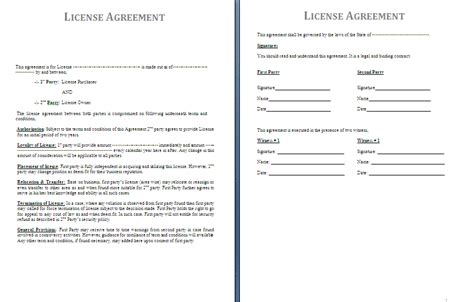 license template license agreement template free agreement and contract