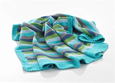 Blaue Decke by Fairtrade Handknitted Blue Stripey Blanket Poppet And Me