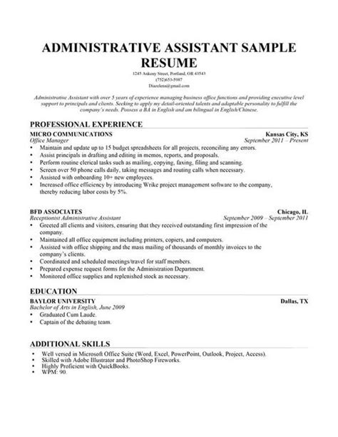 Administrative Assistant Resume Objective Exles by Use This Administrative Assistant Resume Sle To Help You Write Your Own And Read Our