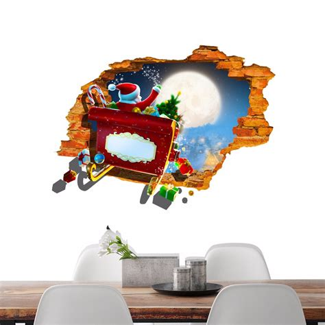 pag 3d santa claus car sticker wall decals home