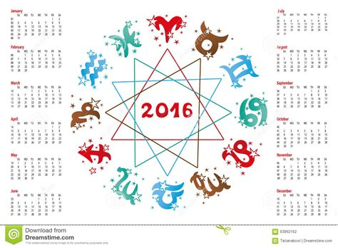 Calendrier Horoscope Calendrier 2016 Signes Astrologiques
