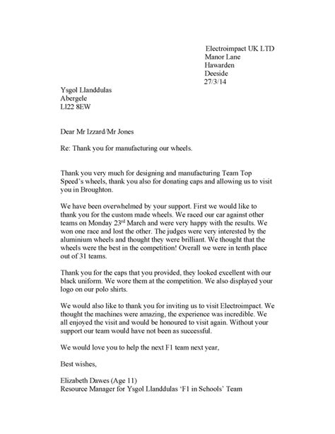 thanking letter after industrial visit thank you letter after visiting company business