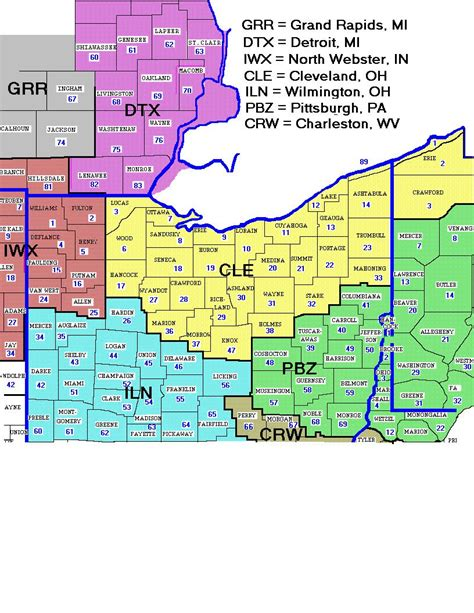 map of ohio zip codes nws cleveland local office detail