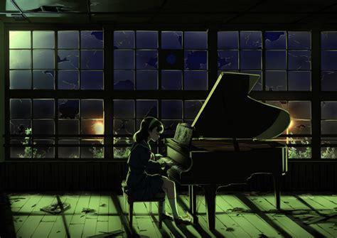 Wallpaper Anime Girl, Playing Piano, Night, Broken Glass