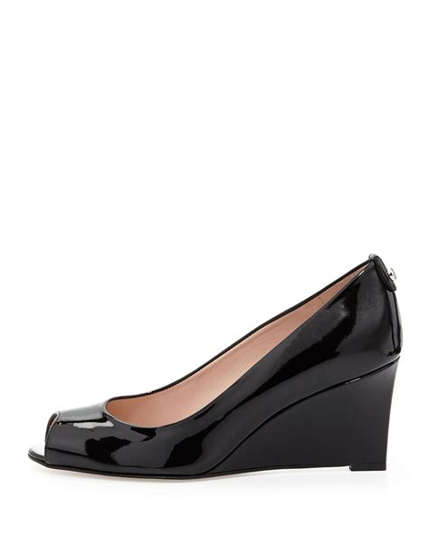 Siegerson Morrison 7069 Patent Peep Toe Wedges At Zappos Couture by Stuart Weitzman Loire Patent Peep Toe Wedge In Black