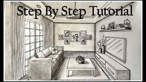 Drawing Living Room - how to draw a living room in one point perspective step