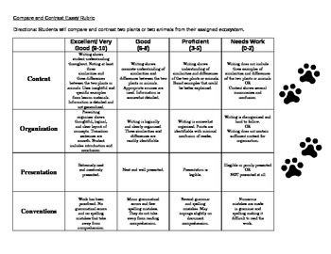 Sixth Grade Research Paper Rubric by Compare And Contrast Essay Rubric 6th Grade Smmusd 6th